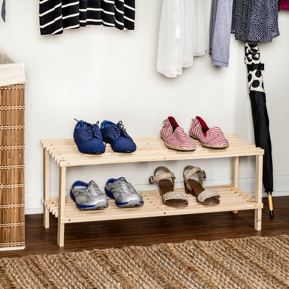 2-Shelf Wood Shoe Rack, Natural