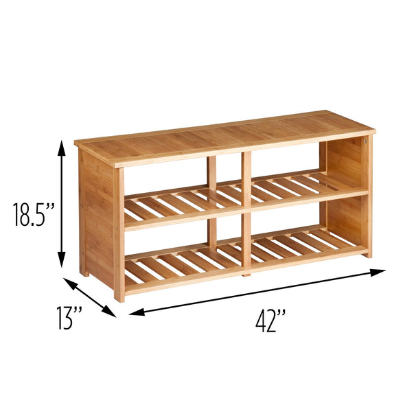 Entryway Storage and Shoe Bench, Bamboo