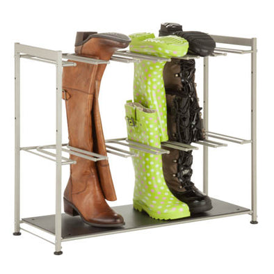 6-Pair Boot Rack, Silver - honeycando.com
