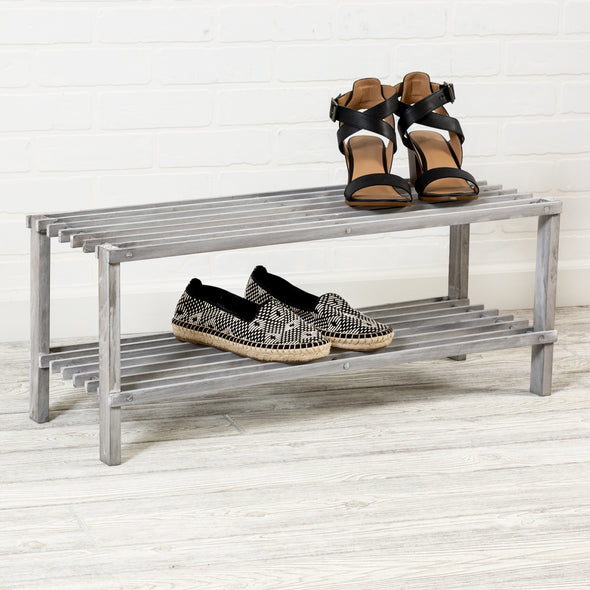 2-Tier Wooden Shoe Rack, Gray