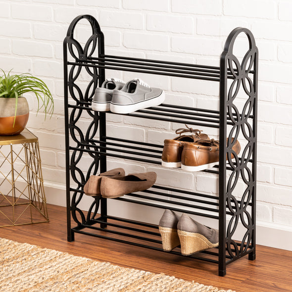 5-Tier Black Shoe Rack with Butterfly Geometric Design