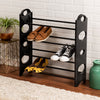 4-Tier Black Plastic Stackable Shoe Rack