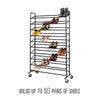 Rolling Shoe Rack and Shoe Rack Cover - Up to 50 Pairs of Shoes, Black
