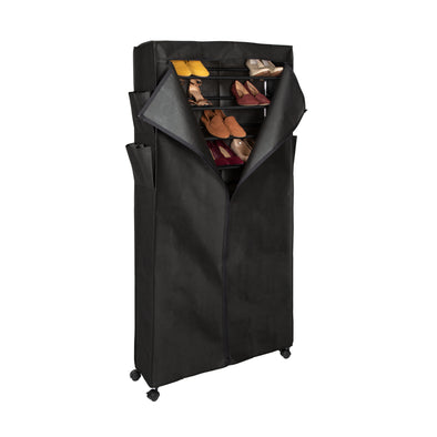 30-Pair, Tall Rolling Shoe Rack Tower with Cover