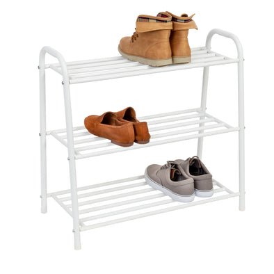 3-Tier White Matte Metal Shoe Rack