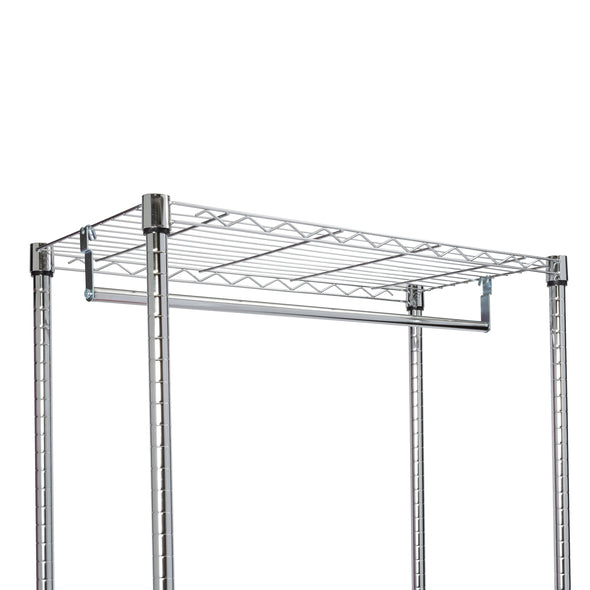 Rolling Laundry Center Triple Sorter and Clothes Hanging Bar, Chrome