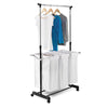 Adjustable Clothes Rack & Laundry Hamper Combo on Wheels - honeycando.com