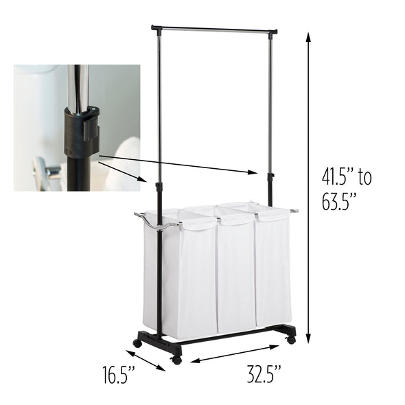 Adjustable Clothes Drying Rack & Laundry Sorter Combo on Wheels