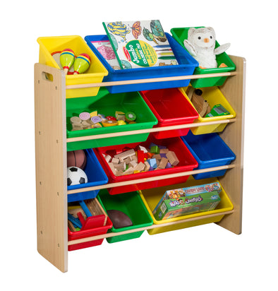 Kids Toy Storage Organizer with Plastic Bins, Natural