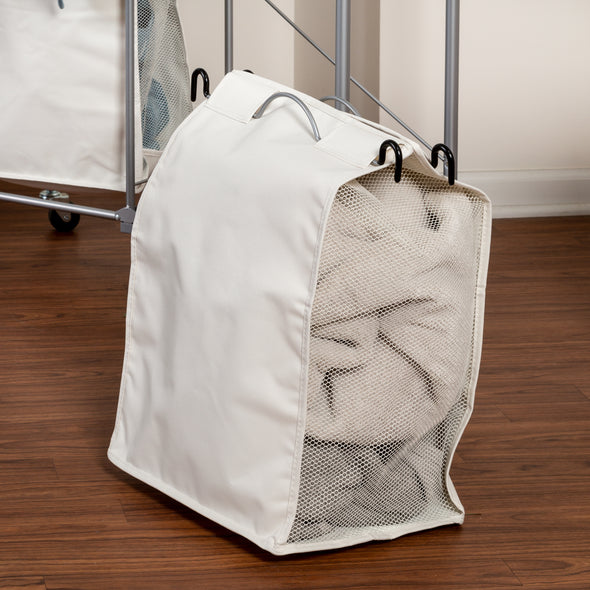 Rolling Laundry Hamper and Ironing Board with Drying Bar