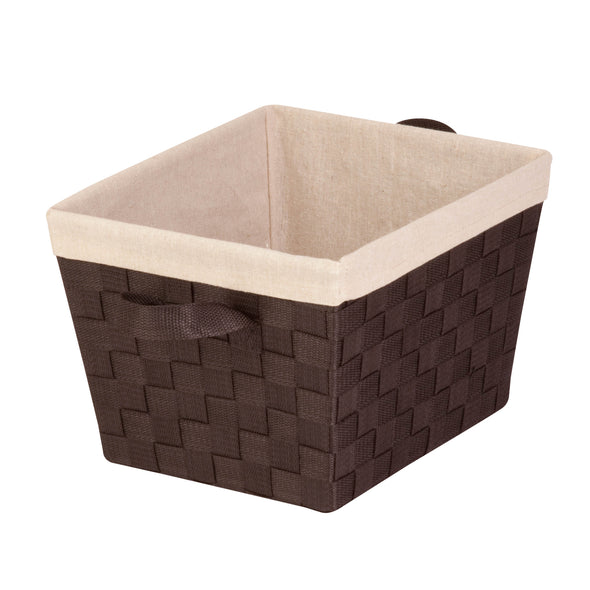 Double Woven Task-It Basket with Liner, Espresso