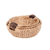 3-Piece Round Natural Baskets, Wood