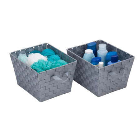 2-Pack Woven Bins, Silver