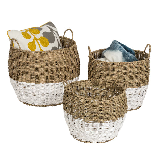 Set of 3 Round Nesting Seagrass 2-Color Storage Baskets with Handles, Natural & White