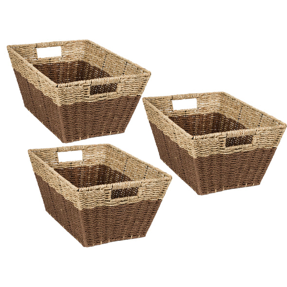 Set of 3 Rectangle Nesting Seagrass 2-Color Storage Baskets with Built-In Handles, Natural & Brown