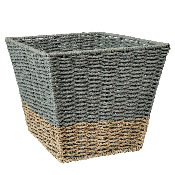 Set of 3 Square Nesting Seagrass 2-Color Storage Baskets, Natural & Grey