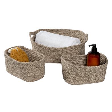 Set of 3 Nested Cotton Baskets with Handles, Champagne