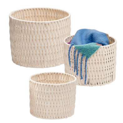 Set of 3 Metal Frame Nesting Round Rope Baskets, White