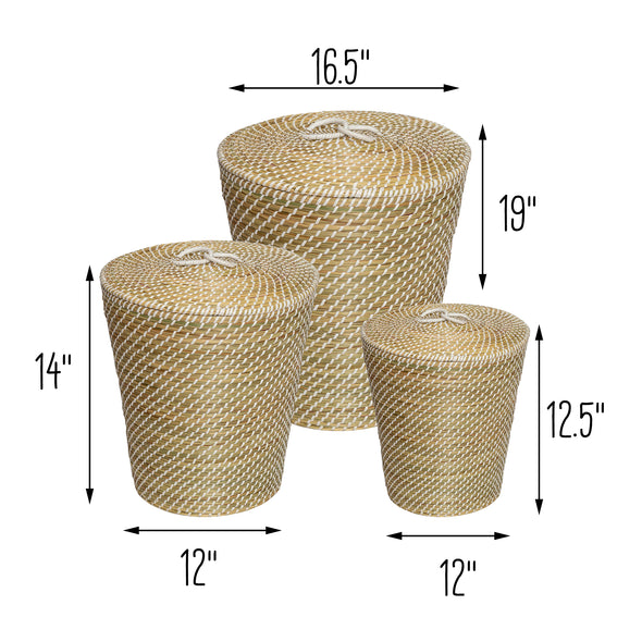 Set of 3 Nesting Seagrass Snake Charmer's Baskets, Natural