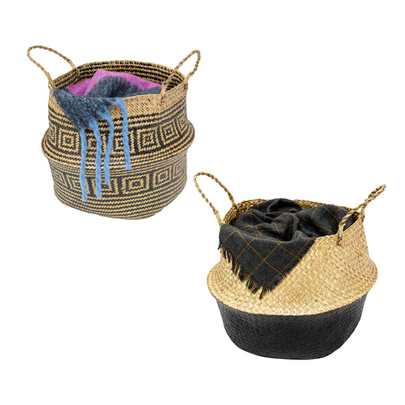 Set of 2 Folding Seagrass Belly Baskets, Multi
