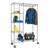 Rolling Closet with Garment Bar and Shelves, Chrome
