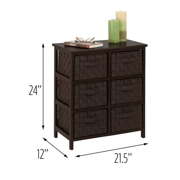 24-Inch 6-Drawer Storage Chest, Espresso