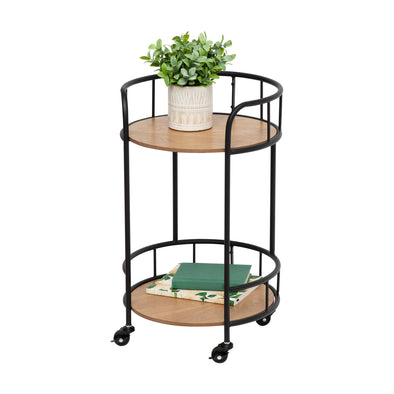 2-Tier Round Side Table With Wheels, Black & Natural