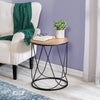 Round Side Table With Top, Black & Natural