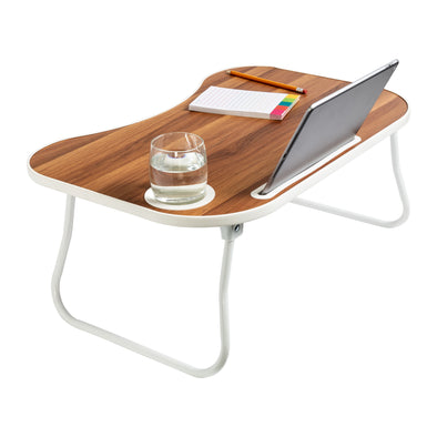 Collapsible Folding Lap Desk, White/Faux Walnut