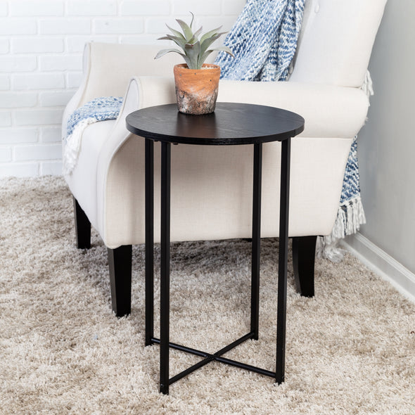 Round Side Table with X-Pattern Base, Black