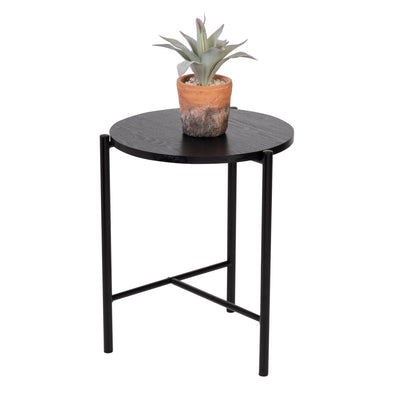 Round Side Table with T-Pattern Base, Black