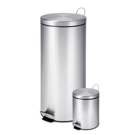 30L & 3L Stainless Steel Trash Can Combo