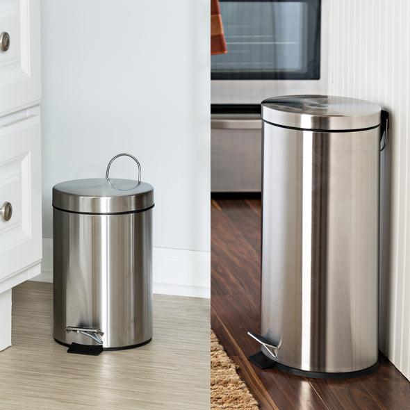 Stainless Steel Step Trash Can with Lid, Set of 30L and 3L