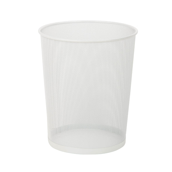 Mesh Metal Waste Basket, White