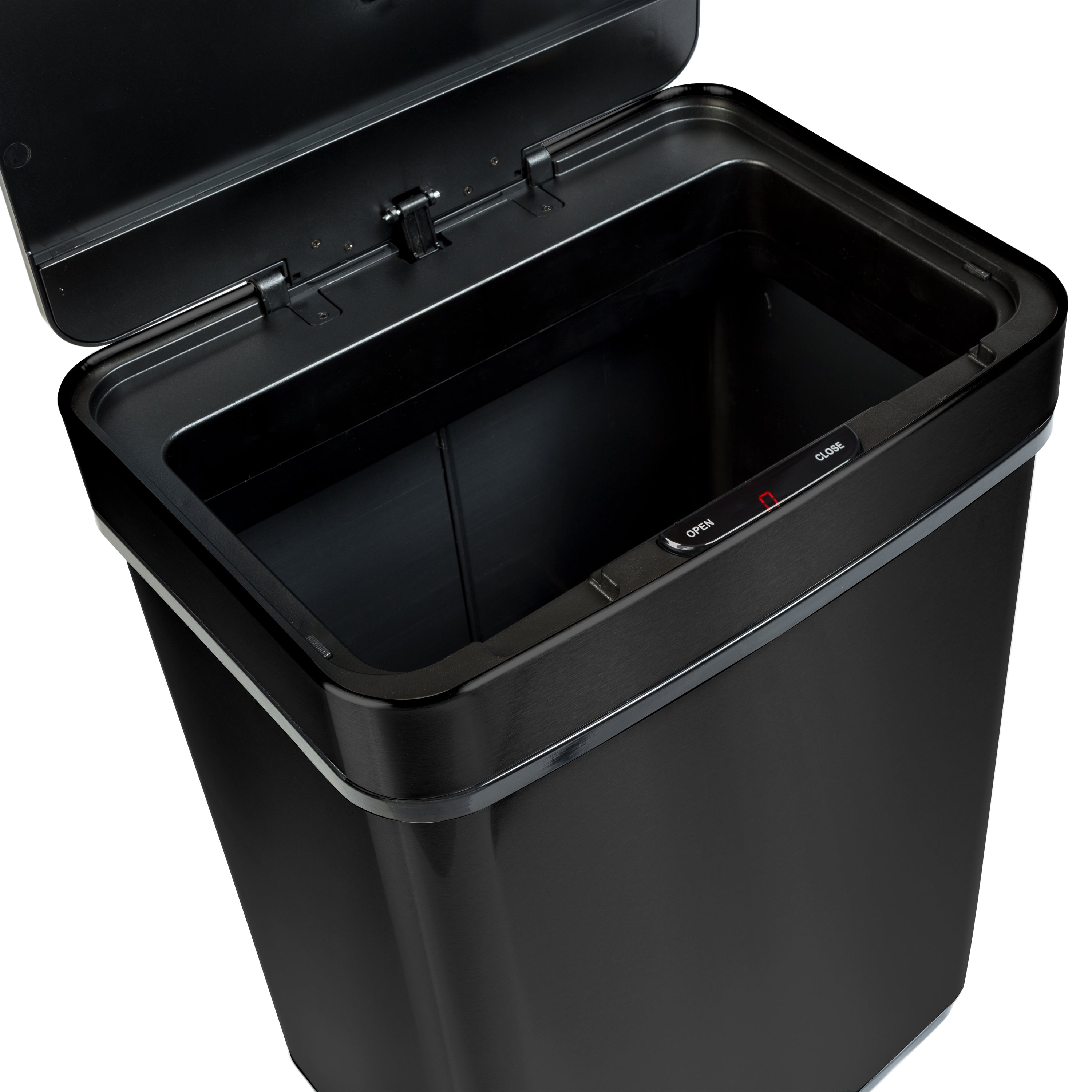 50L Black Stainless Steel Trash Can with Motion Sensor and ...