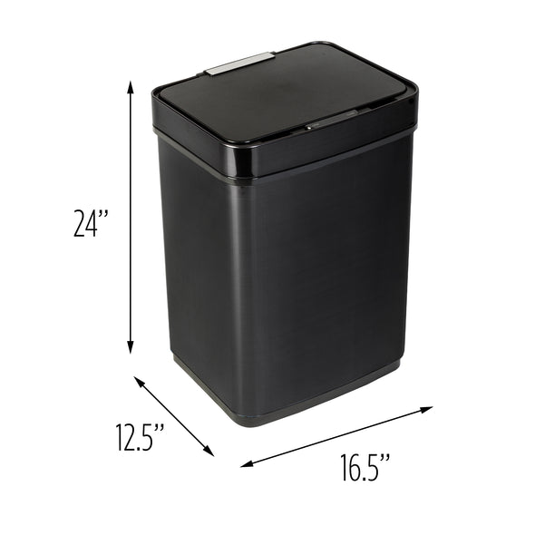 50L Black Stainless Steel Trash Can with Motion Sensor and Soft Close