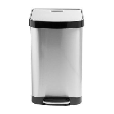 50L Large Stainless Steel Step Trash Can with Lid