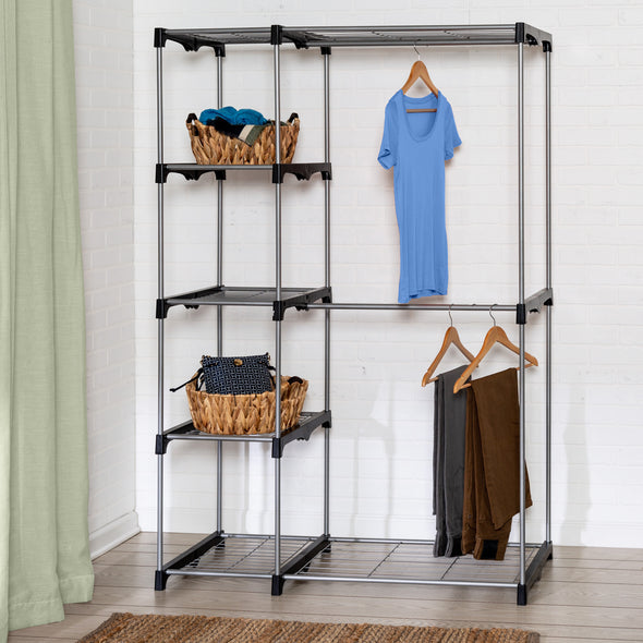 Freestanding Closet Organizer with Double Garment Bar and Shelves