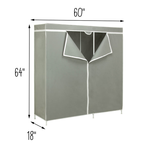 "60"" Wardrobe Clothes Storage Closet, Grey"