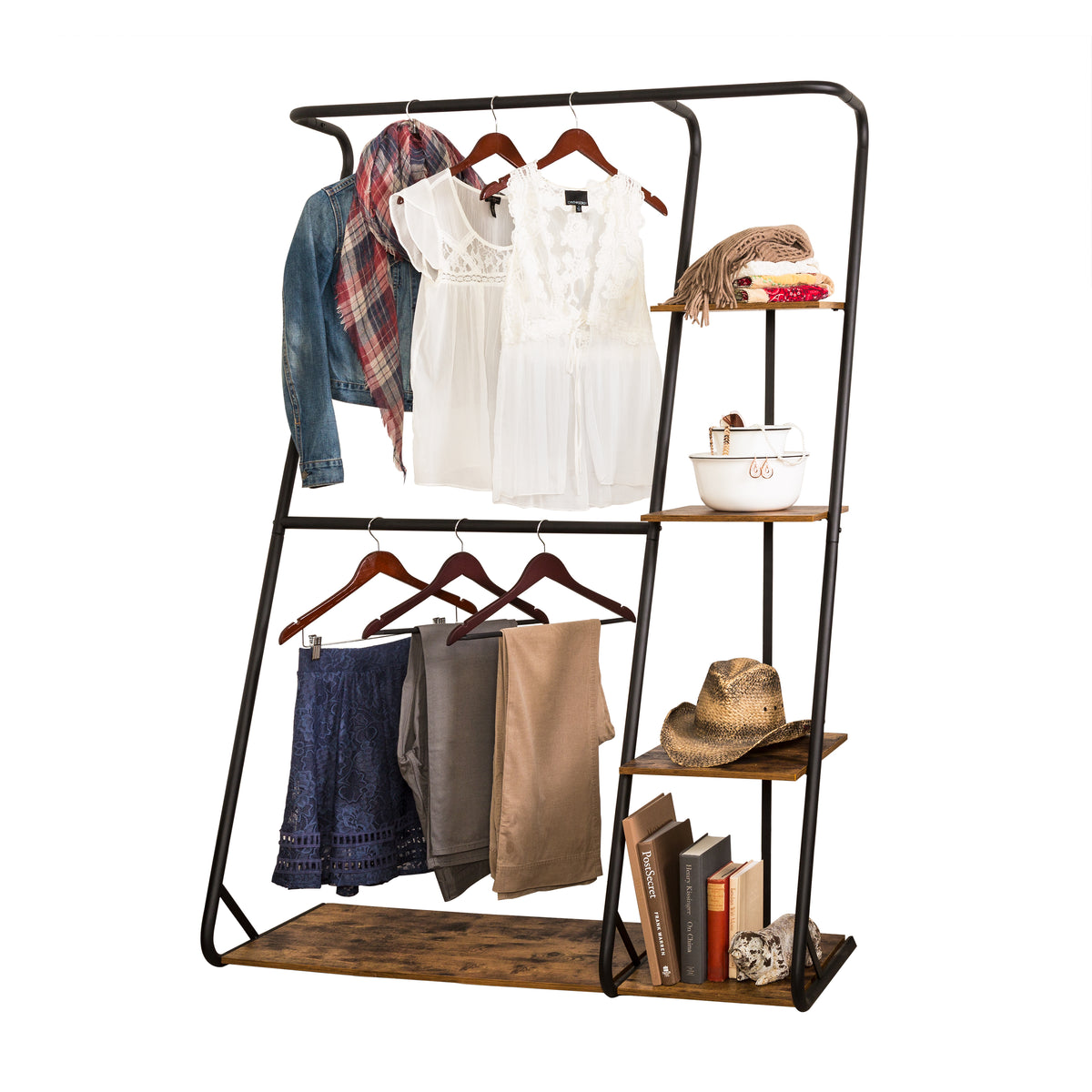 Z Frame Free Standing Closet Double Bar Garment Rack With