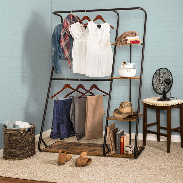 Z-Frame Free-Standing Closet, Double-Bar Garment Rack with Shelves