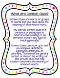 Context Clues Reading Passages and Anchor Charts for 3rd-5th Grade