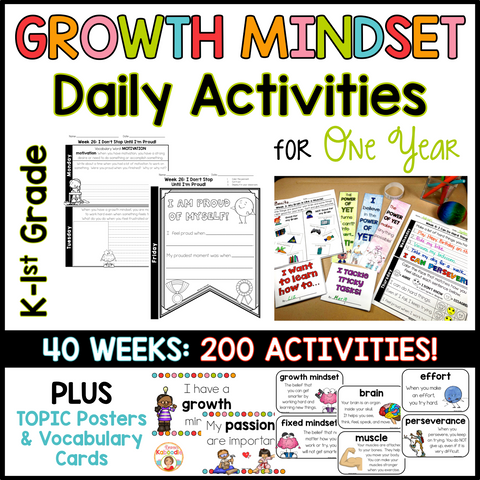 Growth Mindset Activities: Daily Warm-Up Journal for One Year - Kinder-1st grade