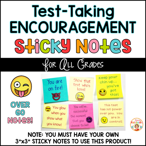 Test-Taking Encouragement on Sticky Notes - Emoji Themed
