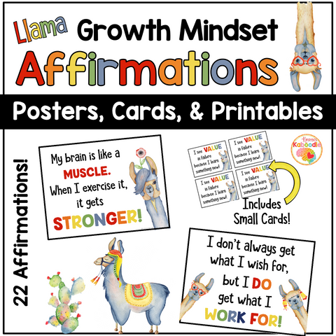 Growth Mindset Posters: Llama Themed Bulletin Board