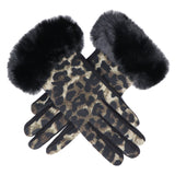 Faux-Fur Panther Gloves