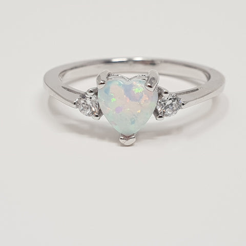 Sterling Silver Ring Heart Nacre