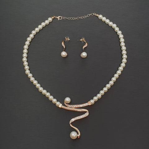 Set Zigzag Necklace & Earrings Pearls & Crystals
