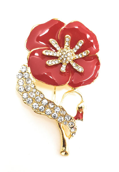 Large sparkling Poppy Brooch