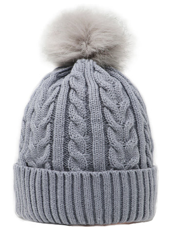 Single Pompom fully lined furry hat